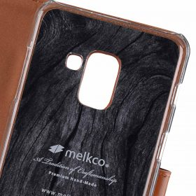 Melkco Premium Leather Case for Samsung Galaxy A8 Plus (2018) – Wallet Book Clear Type Stand (Brown CH)
