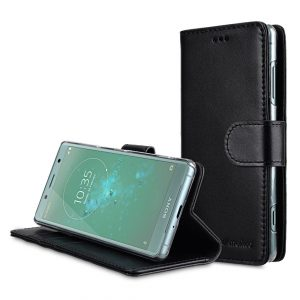 Melkco Premium Leather Case for Sony Xperia XZ2 Compact - Wallet Book Clear Type Stand (Black)
