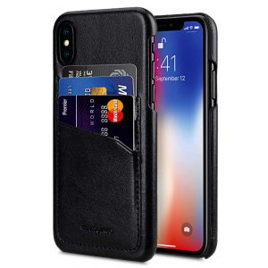 Melkco PU Leather Triple Card Slots Back Cover Case for Apple iPhone X - (Black)