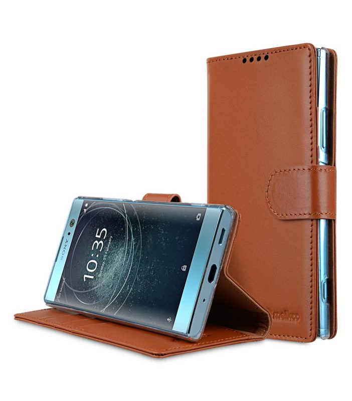 Melkco Premium Leather Case for Sony Xperia XA2 - Wallet Book Clear Type Stand (Brown CH)