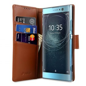 Melkco Premium Leather Case for Sony Xperia XA2 – Wallet Book Clear Type Stand (Brown CH)