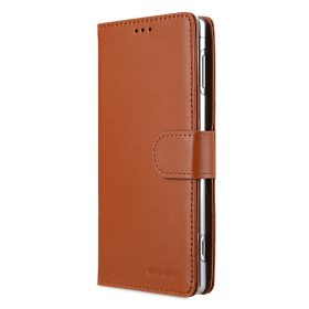 Melkco Premium Leather Case for Sony Xperia XZ2 – Wallet Book Clear Type Stand (Brown CH)