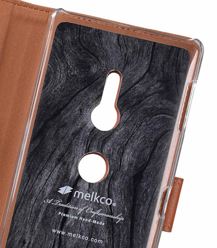 Melkco Premium Leather Case for Sony Xperia XZ2 - Wallet Book Clear Type Stand (Brown CH)