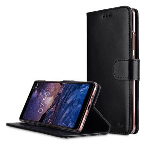 Melkco Premium Leather Case for Nokia 7 Plus - Wallet Book Clear Type Stand (Black)