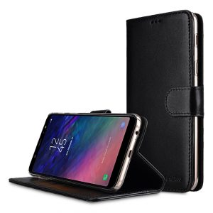 Melkco Premium Leather Case for Samsung Galaxy A6 Plus (2018) - Wallet Book Clear Type Stand (Black)