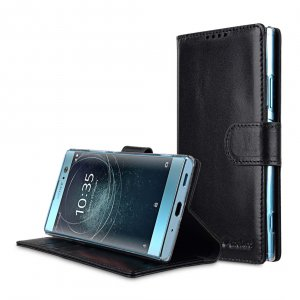 Melkco Premium Leather Case for Sony Xperia XA2 - Wallet Book Clear Type Stand (Black)