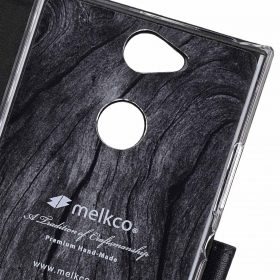 Melkco Premium Leather  Case for Sony Xperia XA2 – Wallet Book Clear Type Stand (Black)