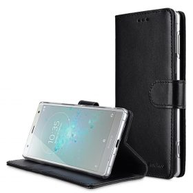 Melkco Premium Leather Case for Sony Xperia XZ2 – Wallet Book Clear Type Stand (Black)