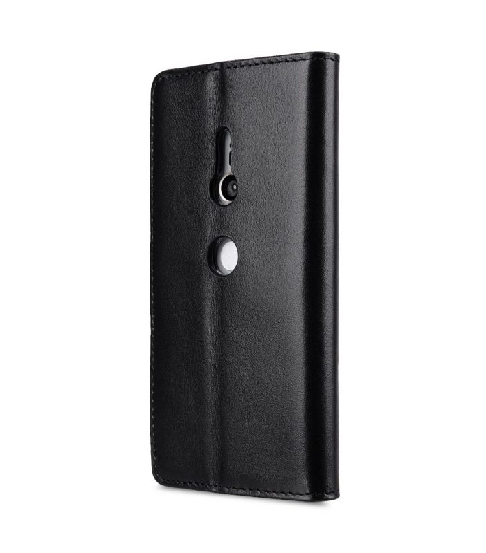 Melkco Premium Leather Case for Sony Xperia XZ2 - Wallet Book Clear Type Stand (Black)