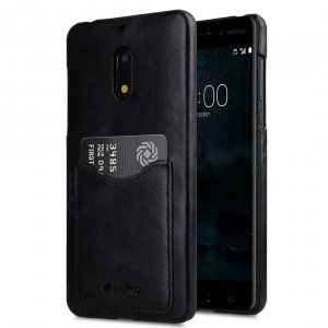 Premium Leather Card Slot Snap Cover for Nokia 6 - (Vintage Black) Ver.2