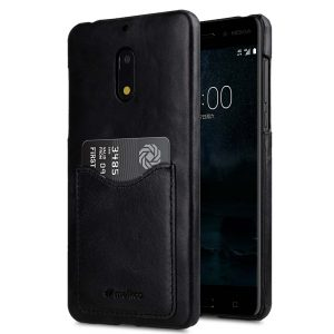Premium Leather Card Slot Snap Cover for Nokia 6