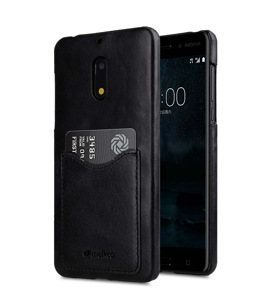 best service b898e 1a96b Premium Leather Card Slot Snap Cover for Nokia 6