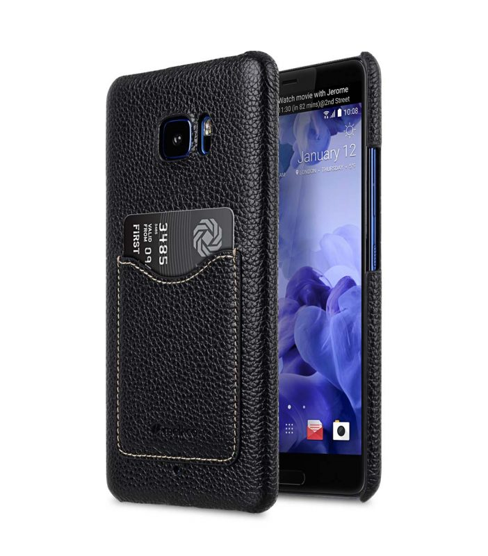 Premium Leather Card Slot Snap Cover for HTC U Ultra - (Black LC)Ver.2