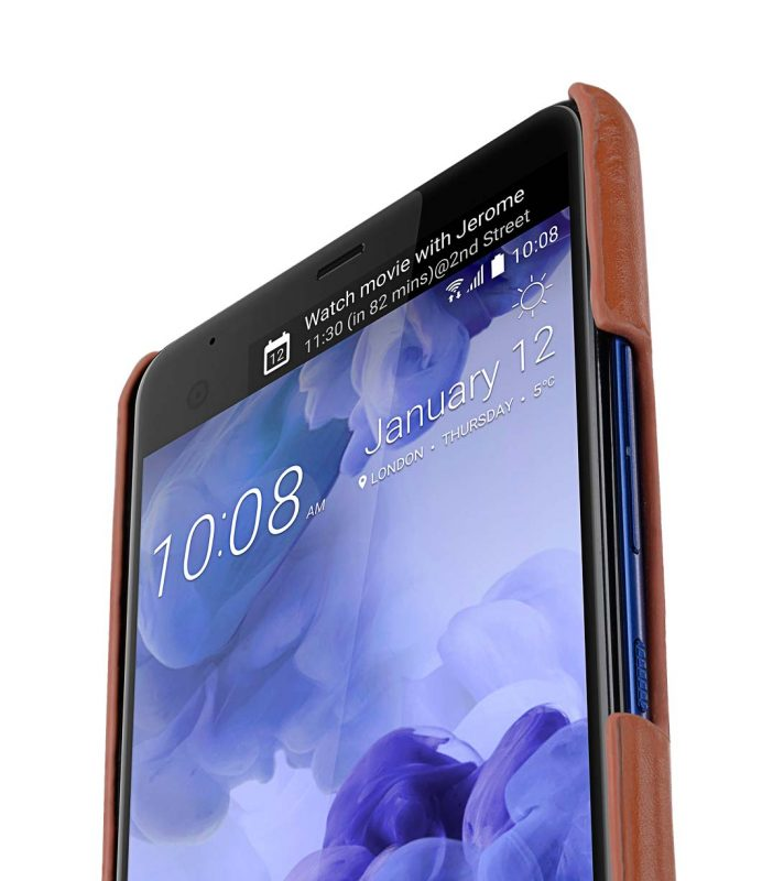 Premium Leather Card Slot Snap Cover for HTC U Ultra - (Brown CH)Ver.2