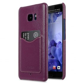 Premium Leather Card Slot Snap Cover for HTC U Ultra – (Purple LC)Ver.2