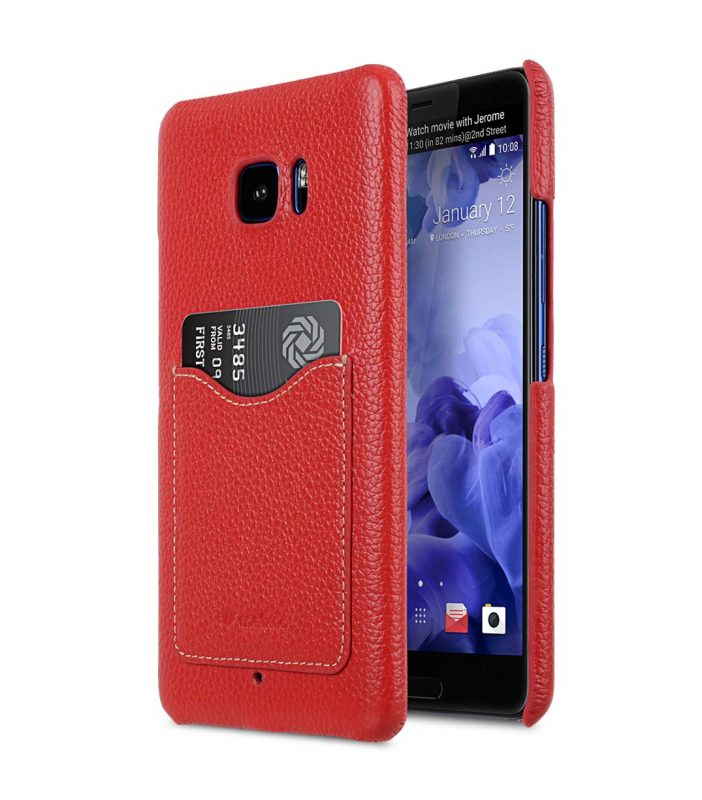 Premium Leather Card Slot Snap Cover for HTC U Ultra - (Red LC)Ver.2