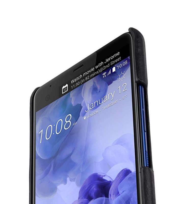 Premium Leather Card Slot Snap Cover for HTC U Ultra - (Vintage Black)Ver.2