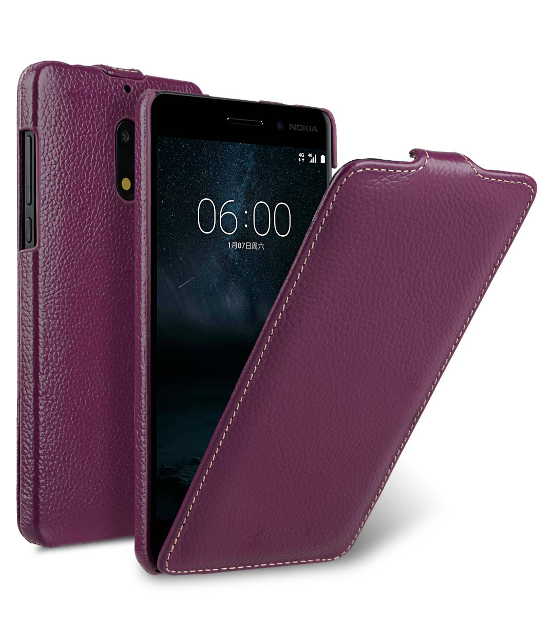 Premium Leather Case for Nokia 6 - Jacka Type (Purple LC)