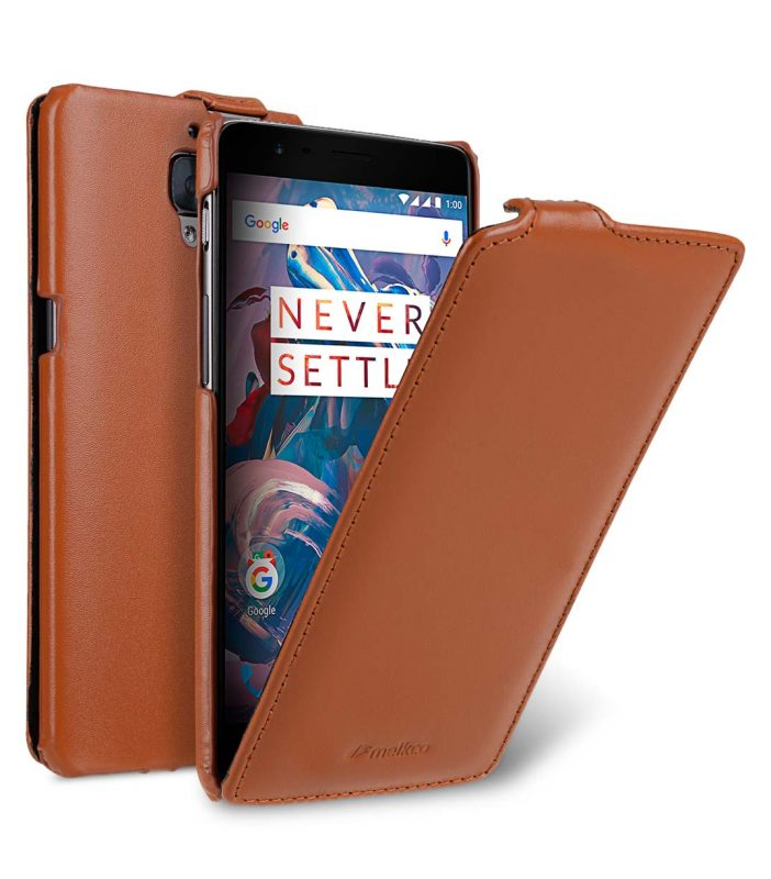 Premium Leather Case for One Plus 3 / 3T - Jacka Type (Brown CH)