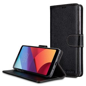 Premium Leather Case for LG G6 - Wallet Book Clear Type Stand (Black LC)
