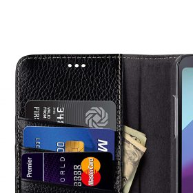 Premium Leather Case for LG G6 – Wallet Book Clear Type Stand (Black LC)