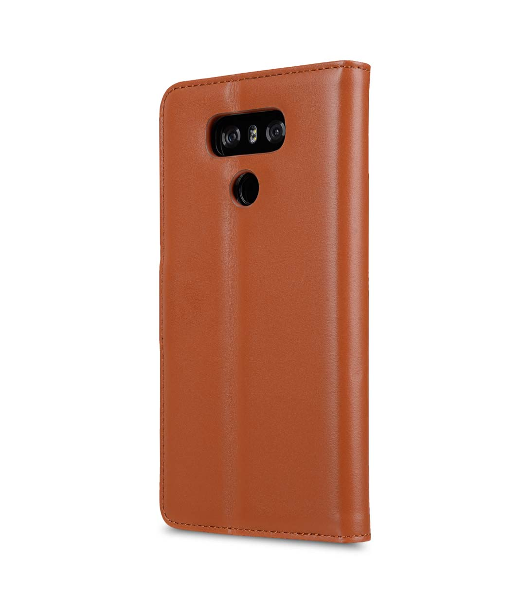 Premium Leather Case for LG G6 - Wallet Book Clear Type Stand (Brown)