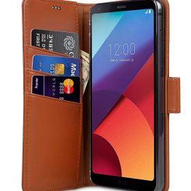 Premium Leather Case for LG G6 – Wallet Book Clear Type Stand (Brown)