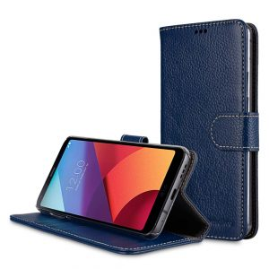 Premium Leather Case for LG G6 - Wallet Book Clear Type Stand (Dark Blue LC)