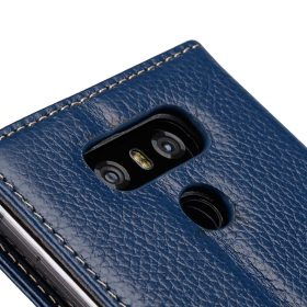 Premium Leather Case for LG G6 – Wallet Book Clear Type Stand (Dark Blue LC)
