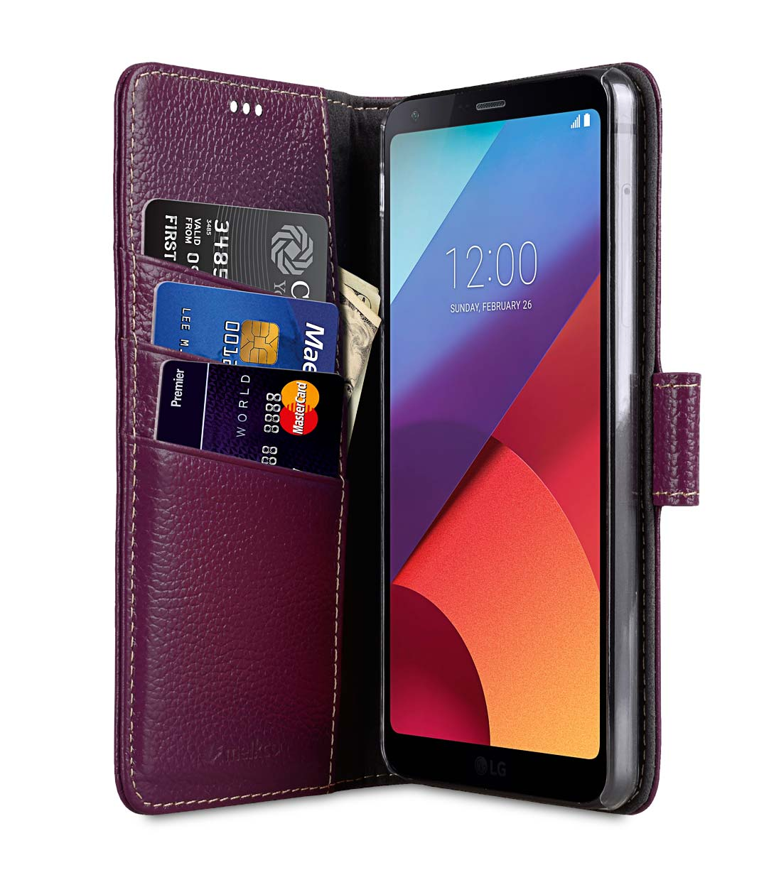 Premium Leather Case for LG G6 - Wallet Book Clear Type Stand (Purple LC)