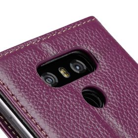 Premium Leather Case for LG G6 – Wallet Book Clear Type Stand (Purple LC)