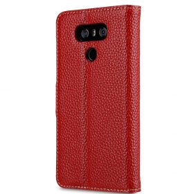 Premium Leather Case for LG G6 – Wallet Book Clear Type Stand (Red LC)