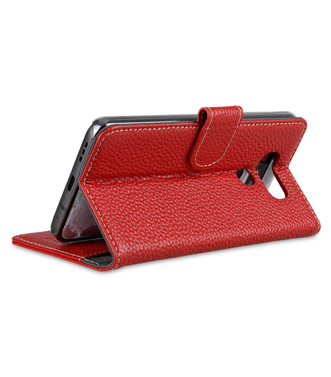 Premium Leather Case for LG G6 - Wallet Book Clear Type Stand (Red LC)