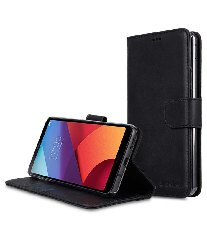Premium Leather Case for LG G6 - Wallet Book Clear Type Stand