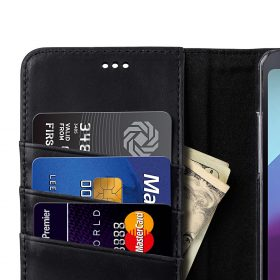 Premium Leather Case for LG G6 – Wallet Book Clear Type Stand (Vintage Black)
