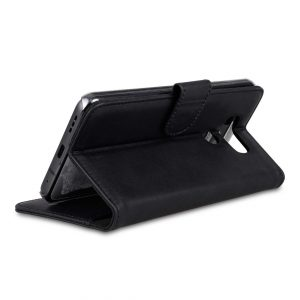 Premium Leather Case for LG G6 - Wallet Book Clear Type Stand (Vintage Black)