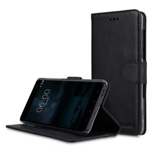 Premium Leather Case for Nokia 6 - Wallet Book Clear Type Stand
