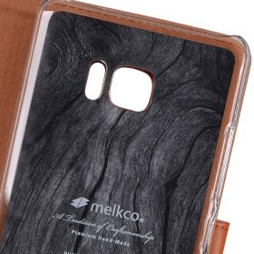 Premium Leather Case for HTC U Ultra – Wallet Book Clear Type Stand (Brown CH)