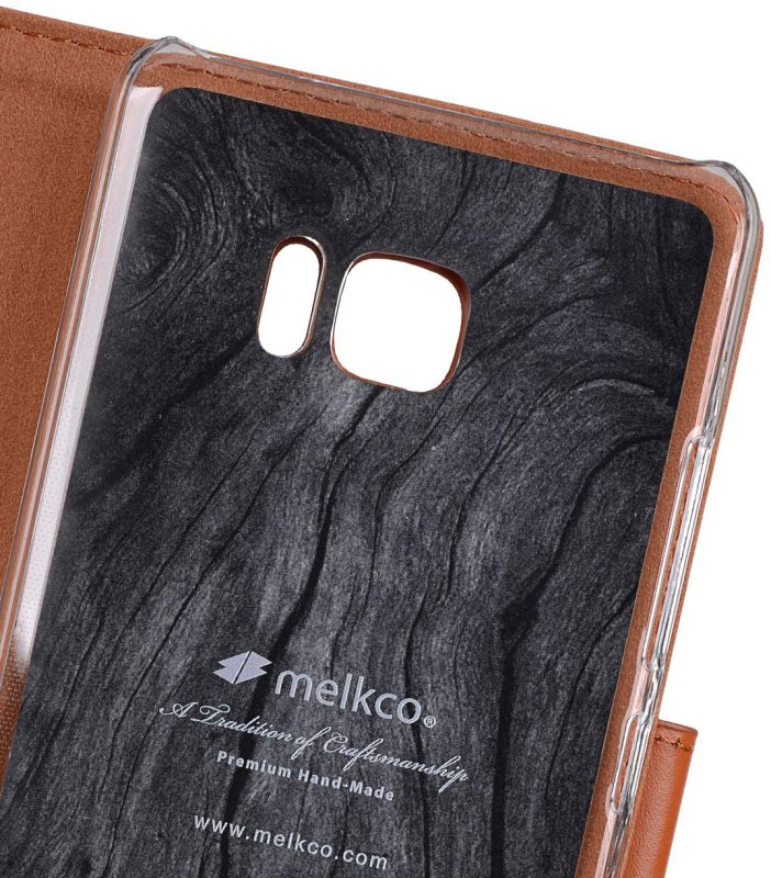 Premium Leather Case for HTC U Ultra - Wallet Book Clear Type Stand (Brown CH)