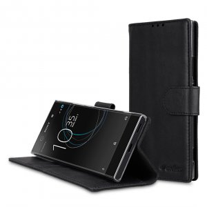 Melkco Premium Leather Case for Sony Xperia XA1 - Wallet Book Clear Type Stand ( Vintage Black )
