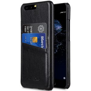 PU Leather Dual Card Slots Snap Cover for Huawei P10