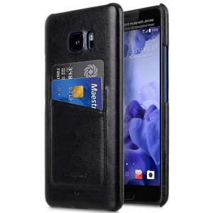 Mini PU Leather Dual Card Slots Snap Cover for HTC U Ultra - (Black PU)