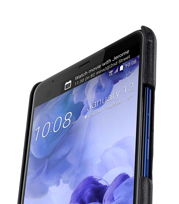 Mini PU Leather Dual Card Slots Snap Cover for HTC U Ultra - (Black PU)