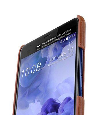 Mini PU Leather Dual Card Slots Snap Cover for HTC U Ultra - ( Brown CH PU)