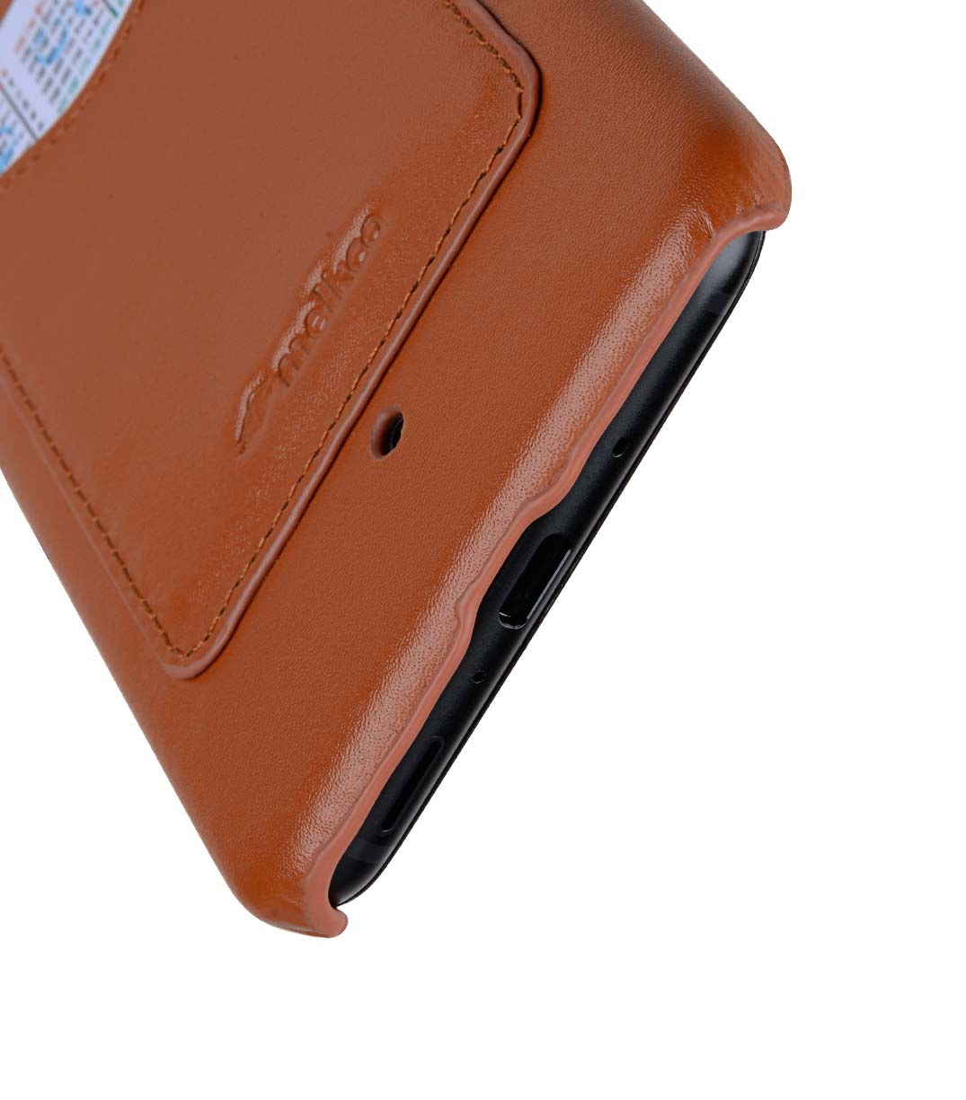 Premium Leather Card Slot Back Cover for HTC U11 - (Brown CH) Ver.2