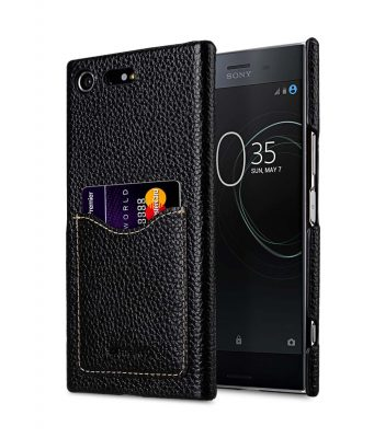 Premium Leather Card Slot Back Cover for Sony Xperia XZ Premium - (Black LC) Ver.2