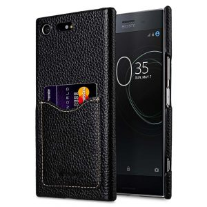 Premium Leather Card Slot Back Cover for Sony Xperia XZ Premium