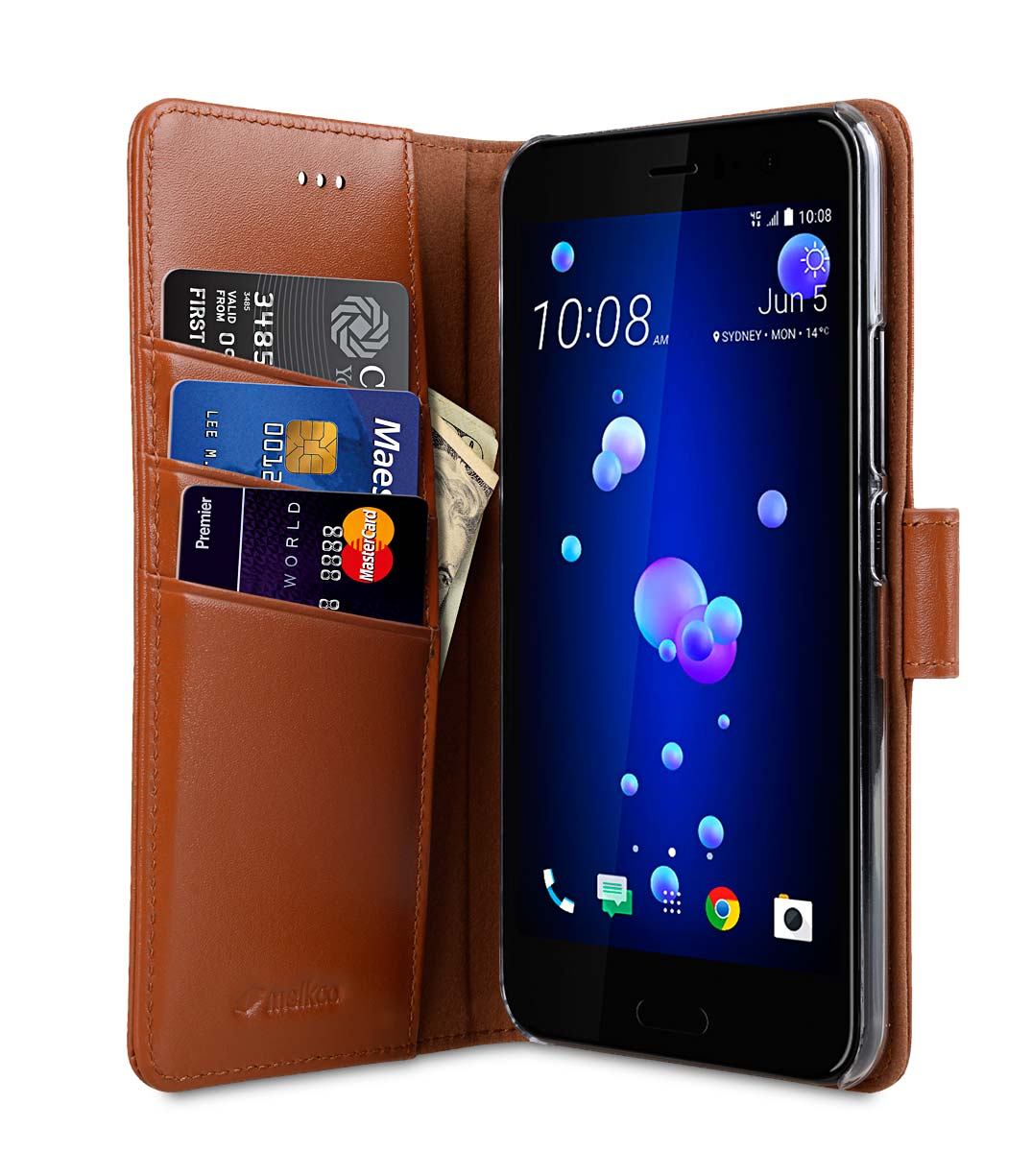 Premium Leather Case for HTC U11 - Wallet Book Clear Type Stand (Brown CH)
