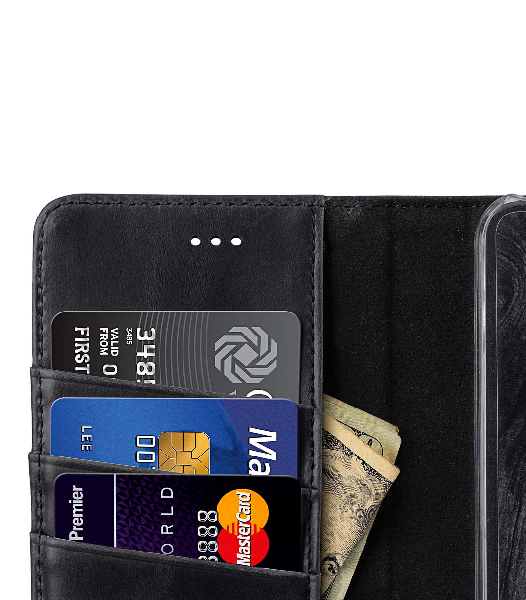 Premium Leather Case for HTC U11 - Wallet Book Clear Type Stand (Vintage Black)