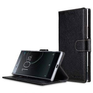 Premium Leather Case for Sony Xperia XZ Premium - Wallet Book Clear Type Stand